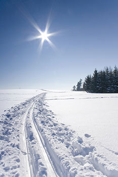 A ski trail across a snow covered field