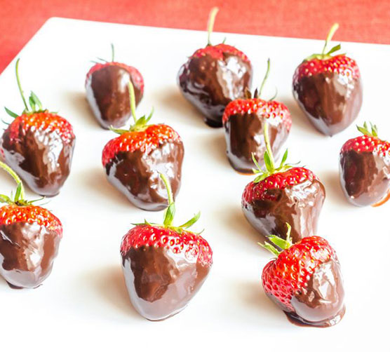 A tray of chocolate strawberries