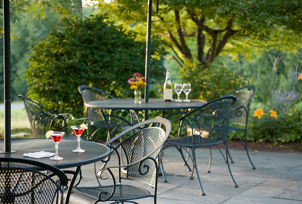 tables with drinks on a patio