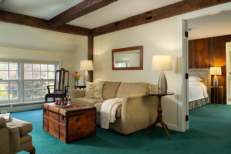 Guest room at our boutique hotel in Chesterfield, NH