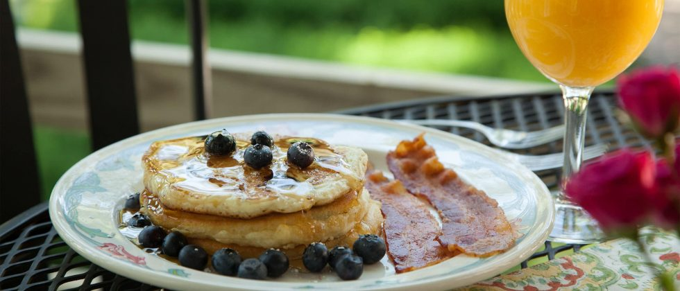 Breakfast Pancake with blueberries and bacon