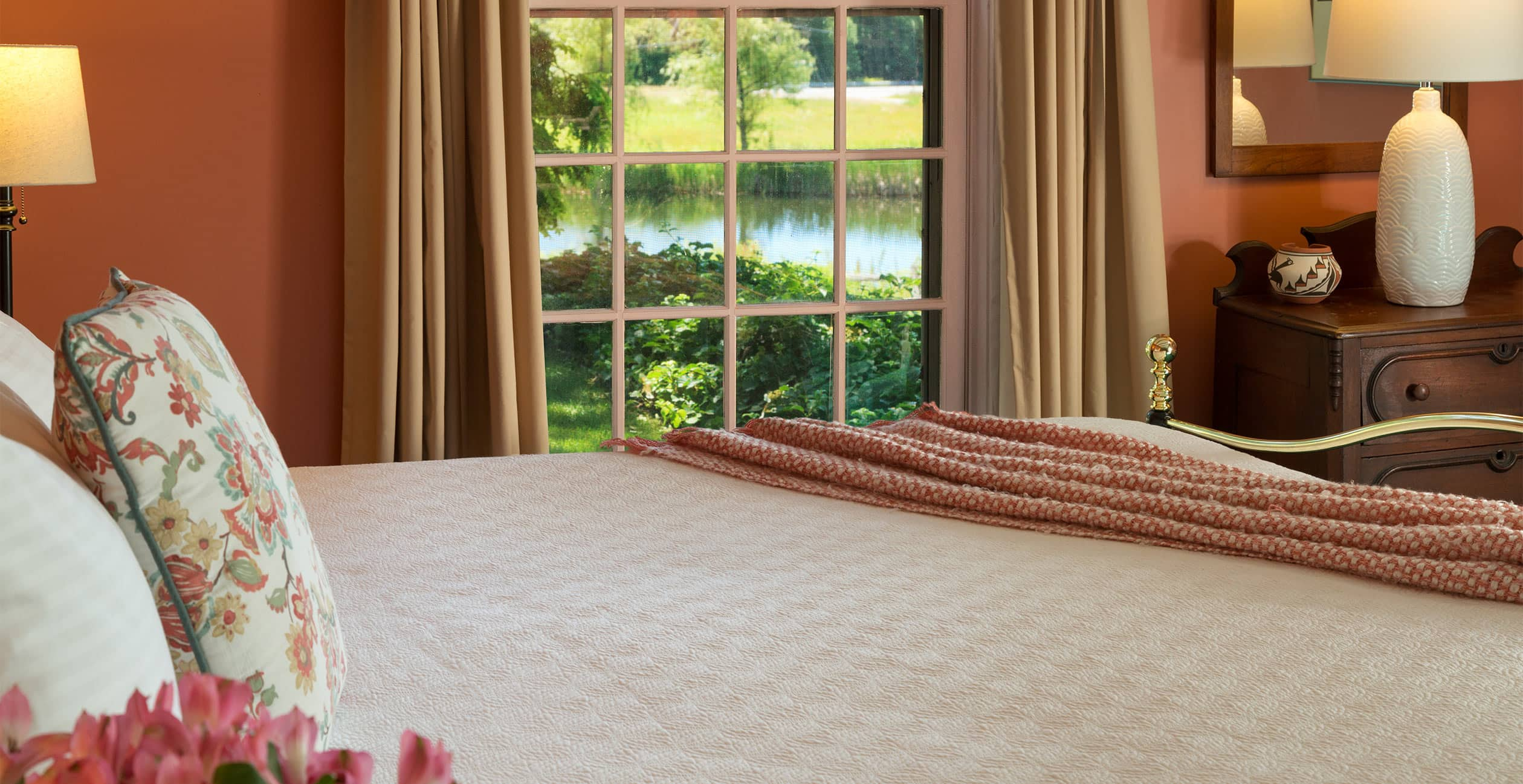 Bed with a garden view