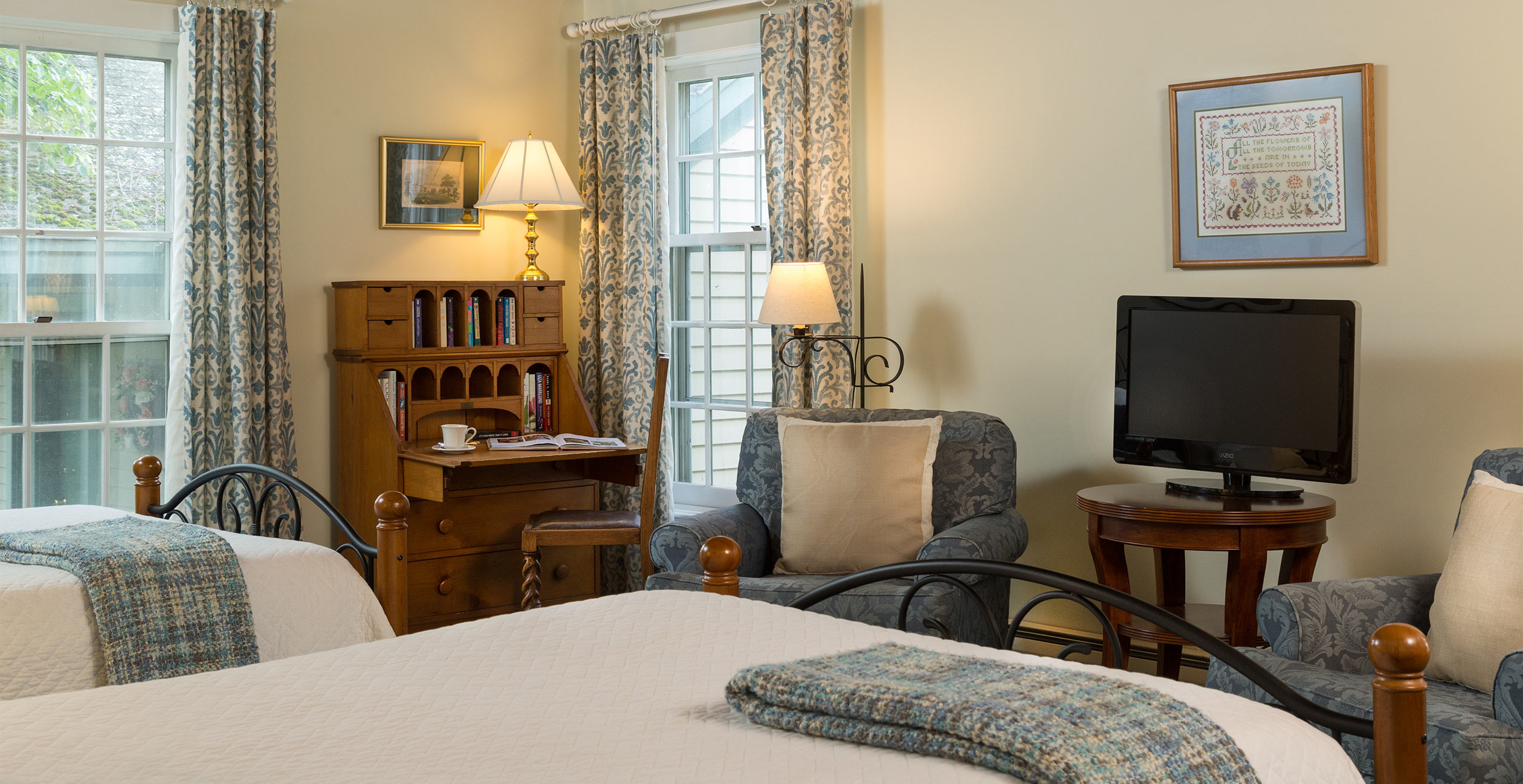 Two double beds at our inn near Brattleboro, VT