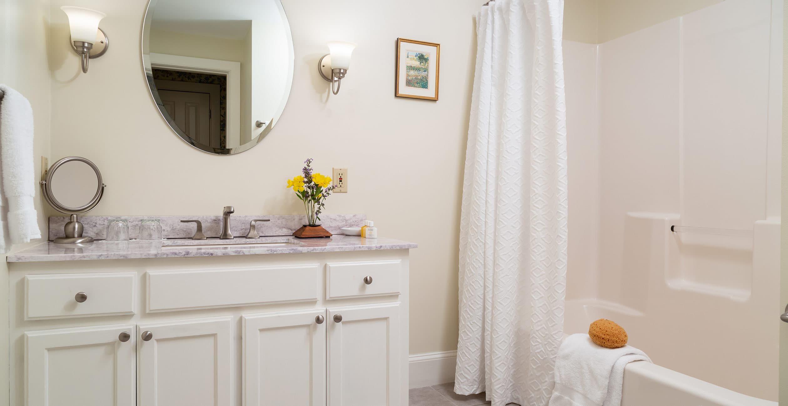 Bathroom Vanity and Tub/shower in Room 21