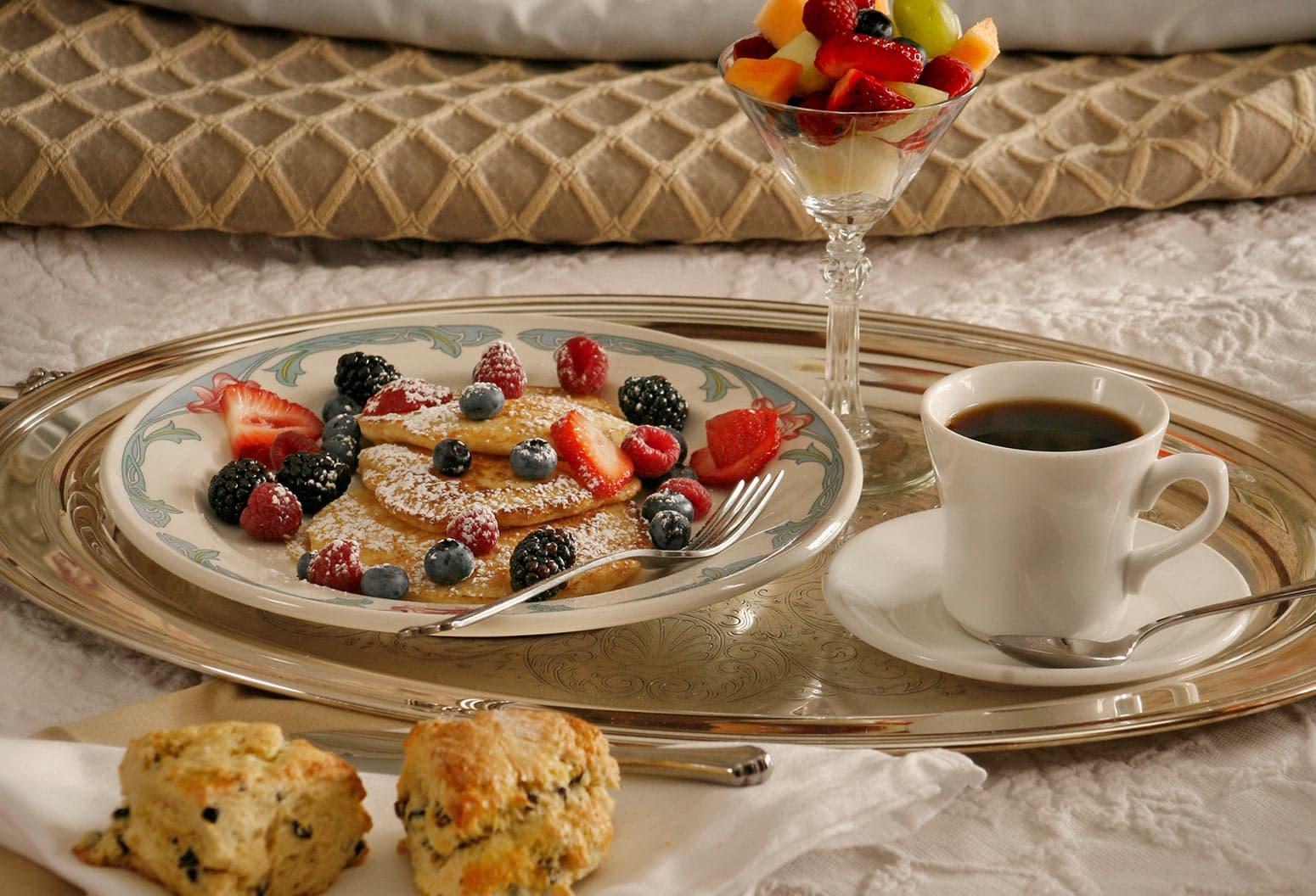 Breakfast in Bed, fresh fruit, coffee, etc.