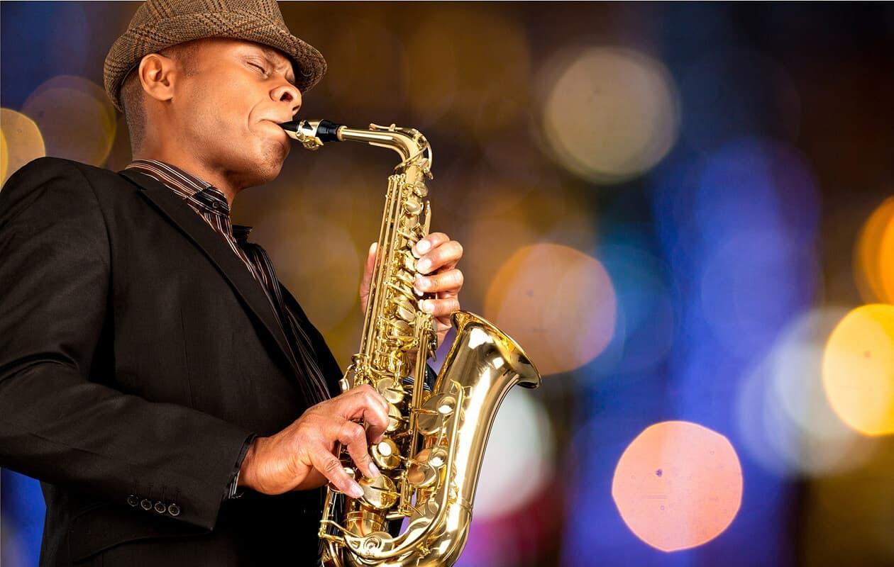 jazz musician playing a saxaphone
