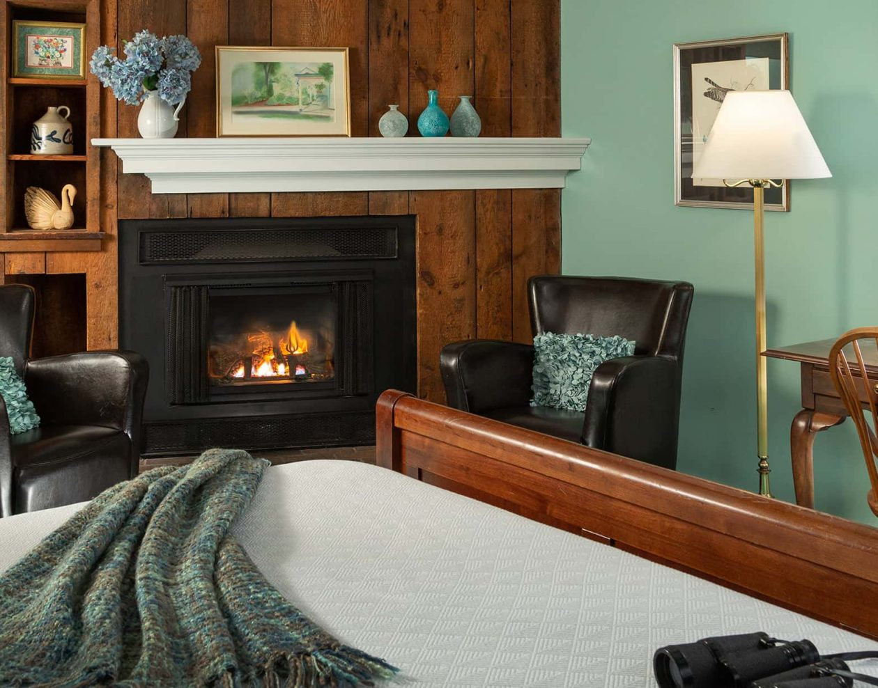 Gas Fireplace with two comfy chairs