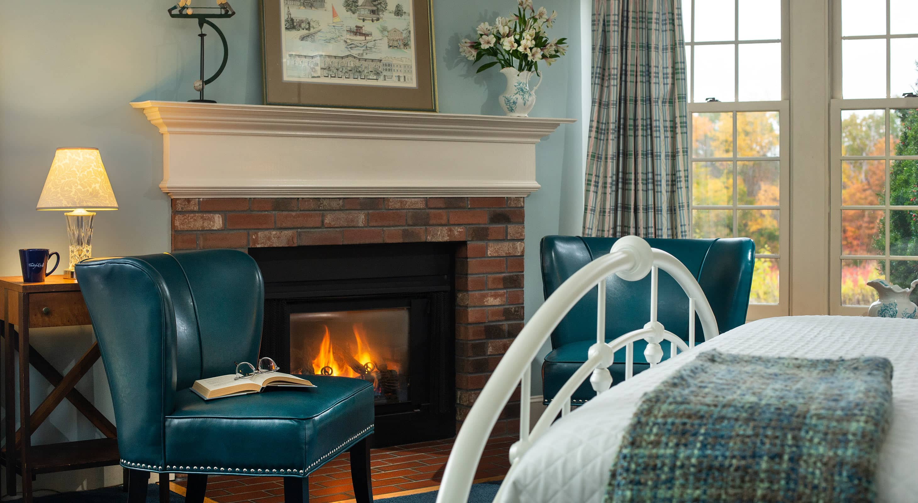 Fireplace on a Romantic Getaway in New Hampshire