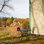 Patio with two chairs in Fall