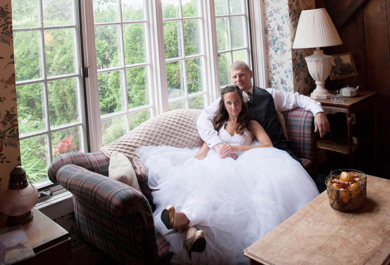 bride and groom at country inn