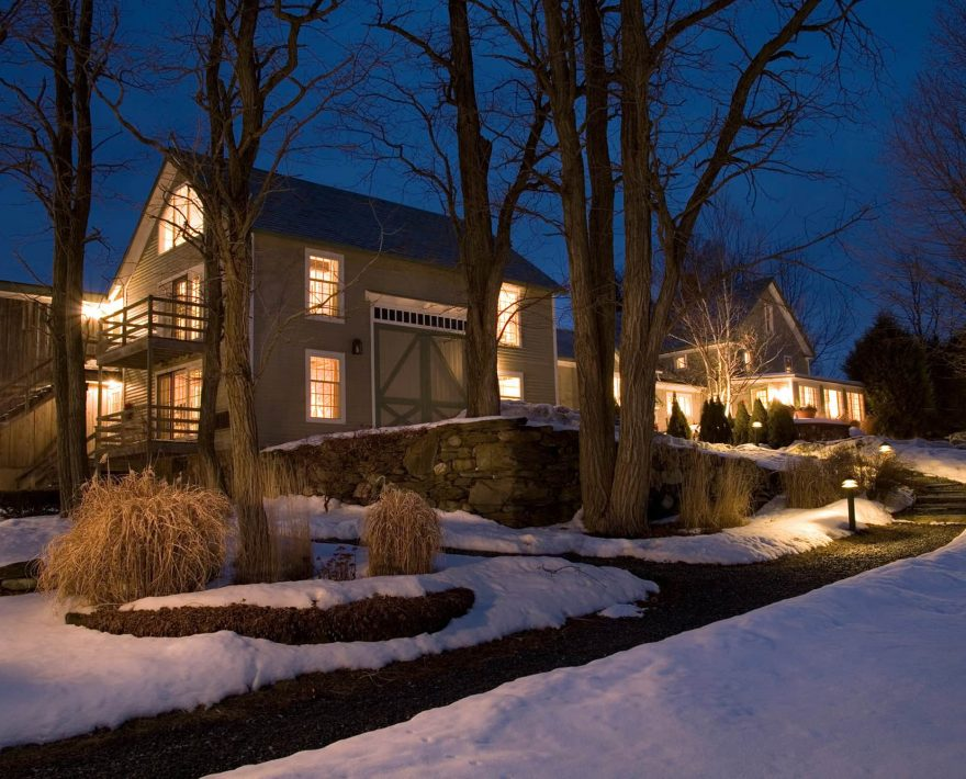 inn exterior at night in the winter