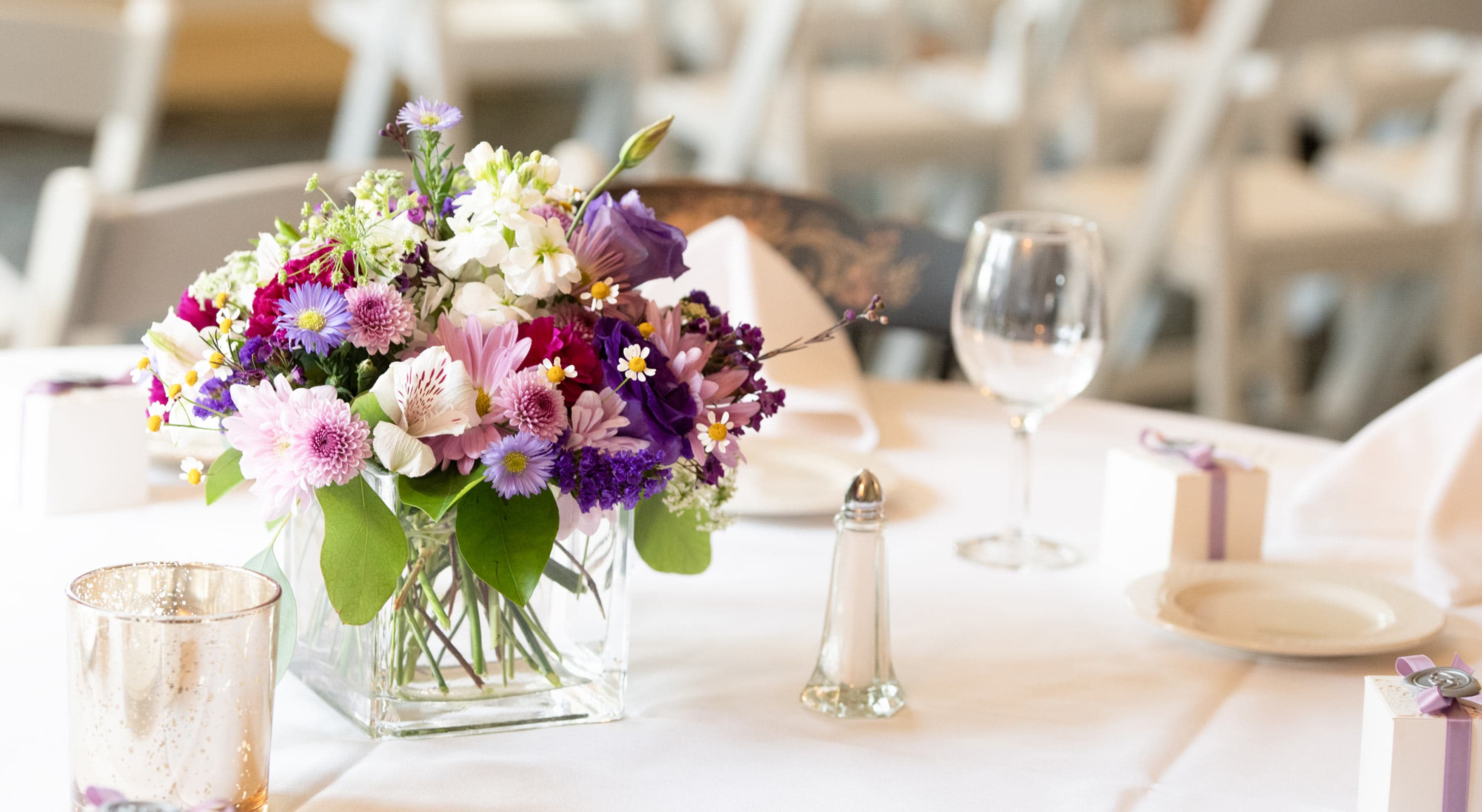Centerpiece on Table at reception in New Hampshire
