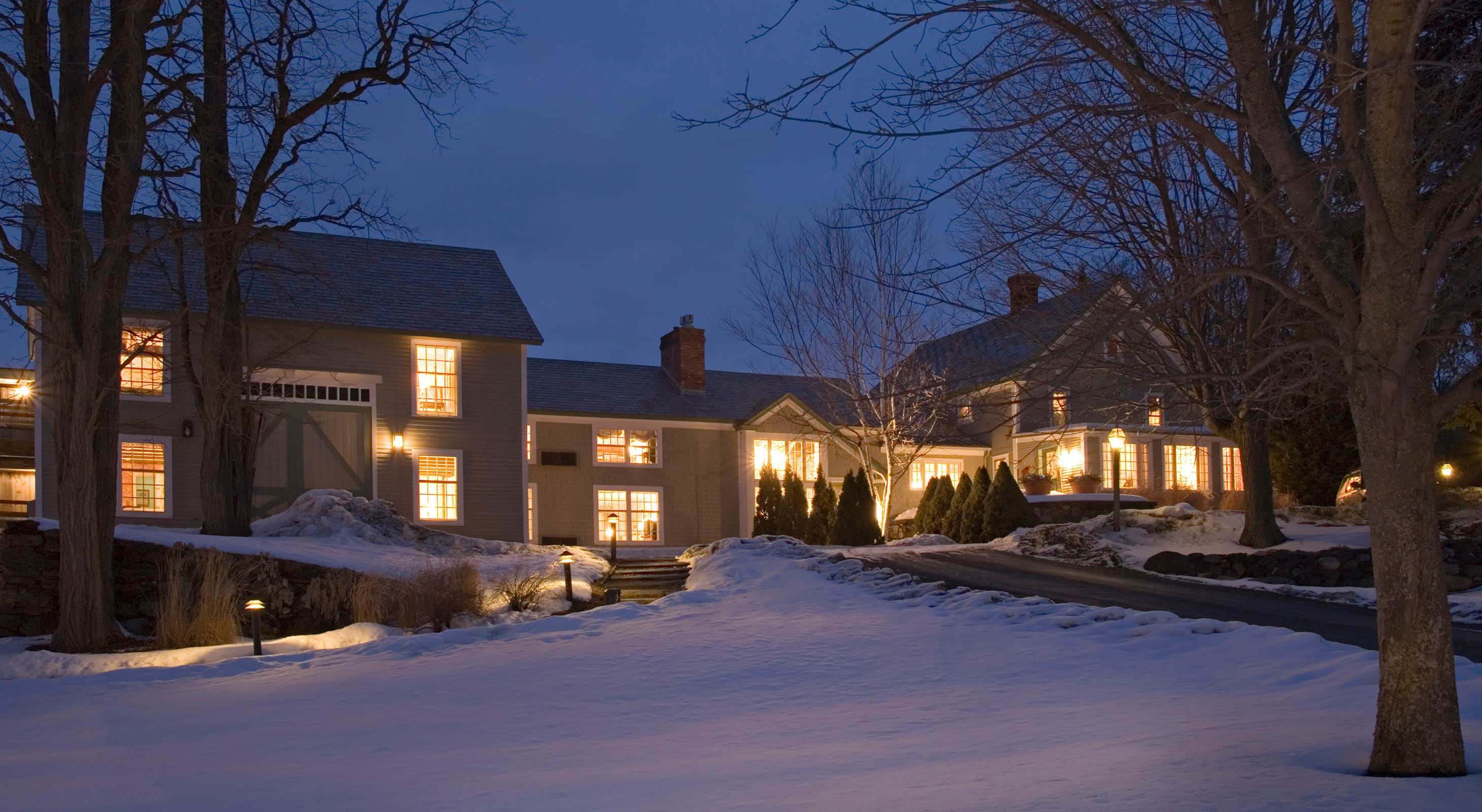 Exterior of Chesterfield Inn on at Twilight in Winter