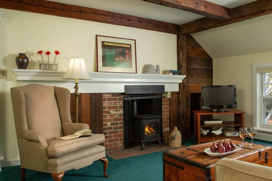fireplace and sitting area in Chesterfield, NH guest room